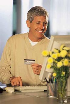 man ordering The Advanced Mediterranean Diet via Internet
